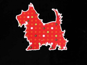 Red Spotted Scottie Dog Iron on Appliqué
