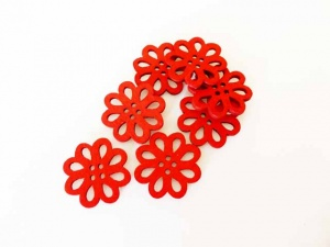 Openwork Red Wooden Buttons