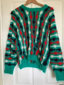 Hand Knitted Mohair Intarsia Sweater