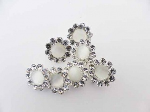 Silver Plated Cats Eye Rhinestone Buttons