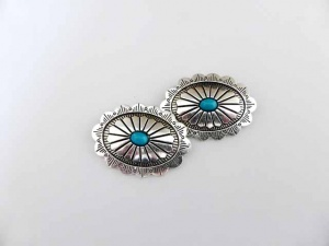 Large ''Silver'' Oval Buttons with Blue Stone