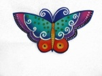 Laurel Burch Sea Green and Purple Butterfly  Iron on Appliqué