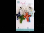 Crucifix Multi Coloured Millefiori Glass Locking Stitch Markers