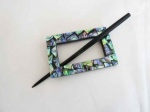 Rectangular Straight Edge Shell Shawl Pin Set
