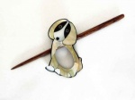 Mother of Pearl Puppy Shawl Pin Set