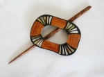 Rectangular Wood and Shell Shawl Pin Set