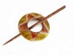 Rattan Olive and Rust Circular Shawl Pin Set
