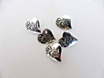 Antique Silver Heart Engraved Buttons