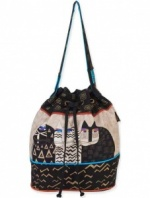 Laurel Burch Wild Cats Drawstring Bag