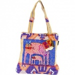 Laurel Burch Folklorica Zigzag Gatos Medium Tote
