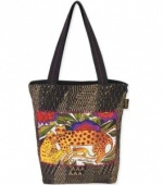 Laurel Burch Folklorica Leopards of Shambala Shoulder Tote