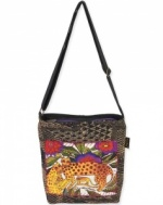Laurel Burch Folklorica Leopards of Shambala Cross Body Bag