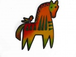Laurel Burch Orange and Yellow Mythical Horses Iron  on Appliqué
