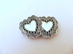 Large ''Silver'' Heart Buttons