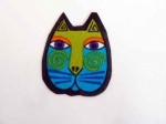 Laurel Burch Turquoise and Green Cat Face Iron on Appliqué