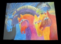Laurel Burch'' WIld Horses of Fire'' Any Occasion Card